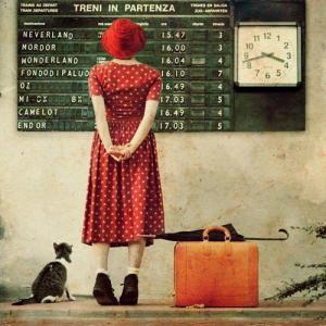 Départ voyage avec chat et valise
