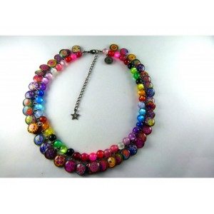Collier perles multicolores
